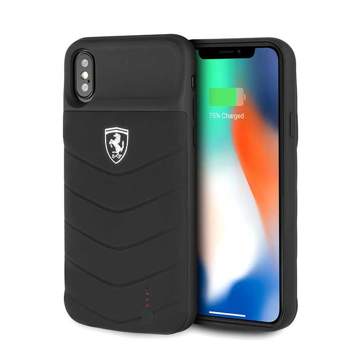 Ferrari Off Track Full Cover Power Case 3600mAh for iPhone X / Xs - Black