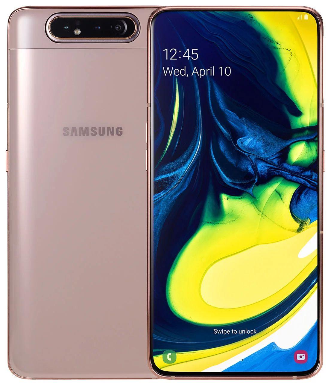 Samsung Galaxy A80 Dual Sim, 128GB, 8GB RAM, 4G LTE, Angel Gold