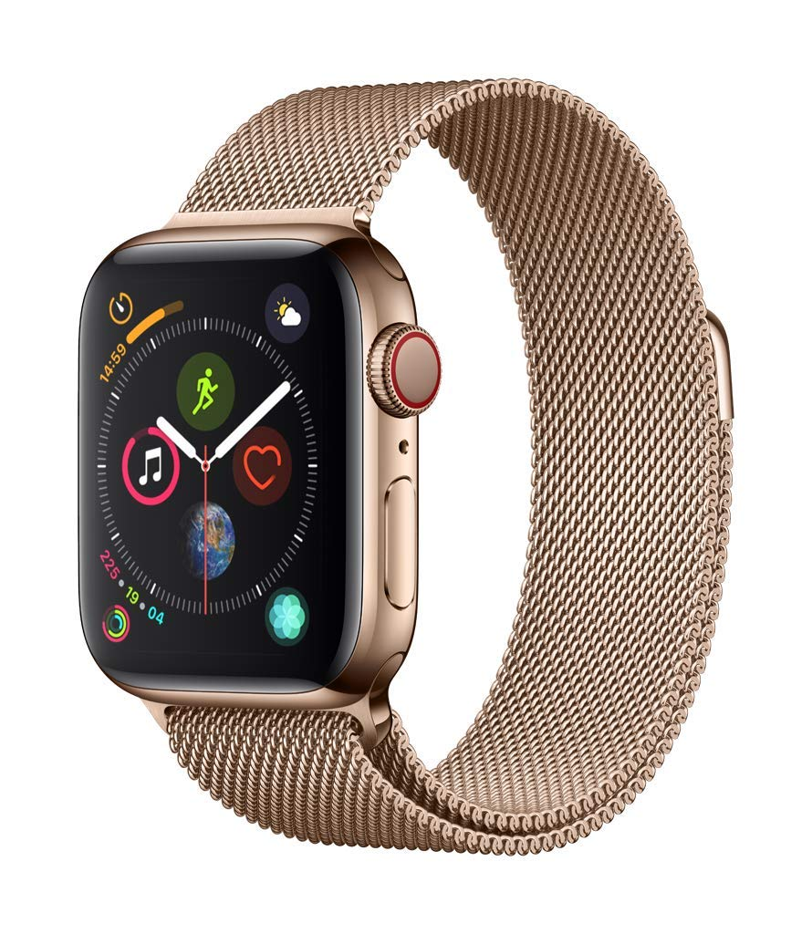 Apple Watch Series 4 GPS + Cellular 44mm Gold Stainless Steel Case with Gold Milanese Loop (MTX52)