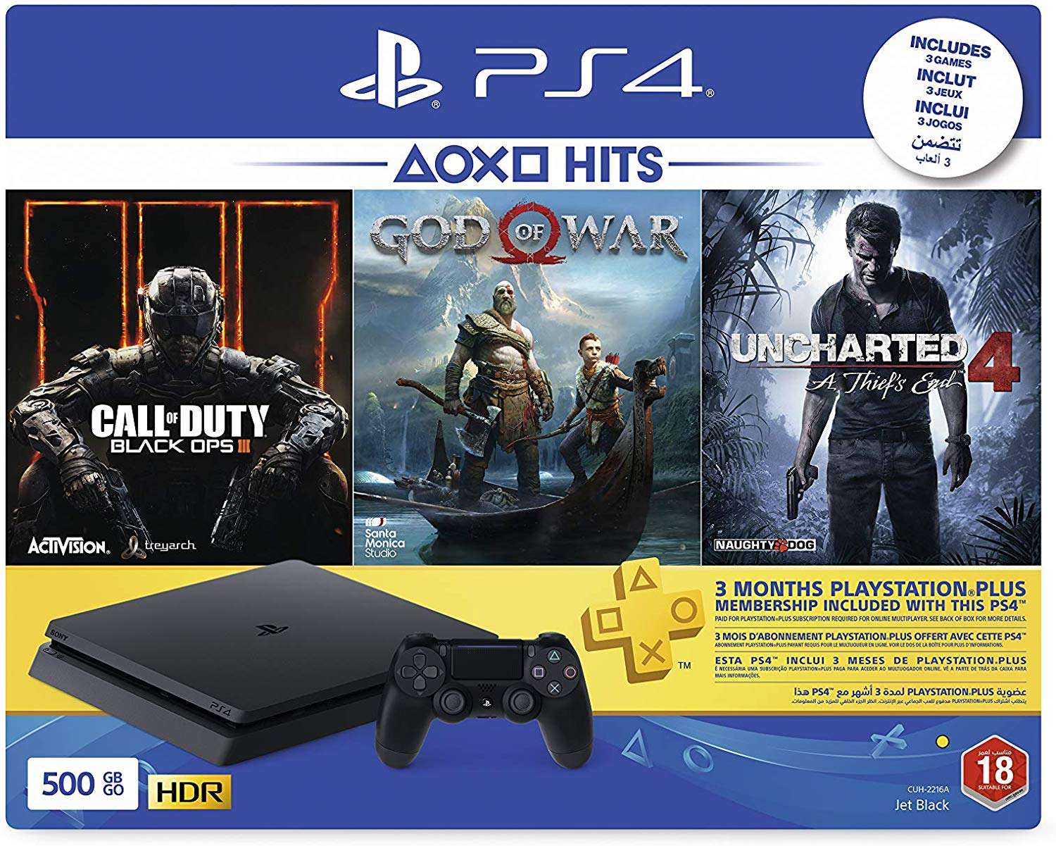 Sony Playstation 4 Slim 500gb Console Black With 3 Month Psn