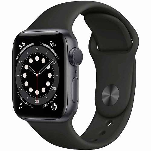 Apple Watch Series 6 GPS 44mm Space Gray Aluminum, Black Sport Band (M00H3)