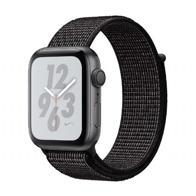 Apple Watch Nike+ Series 4 GPS 44mm Space Gray Aluminum Case with Black Nike Sport Loop (MU7J2)