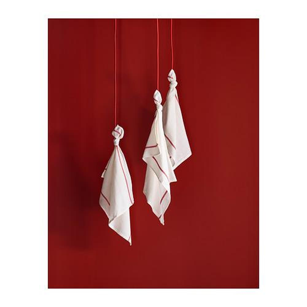 TEKLA Tea towel, white, red, 50x65 cm