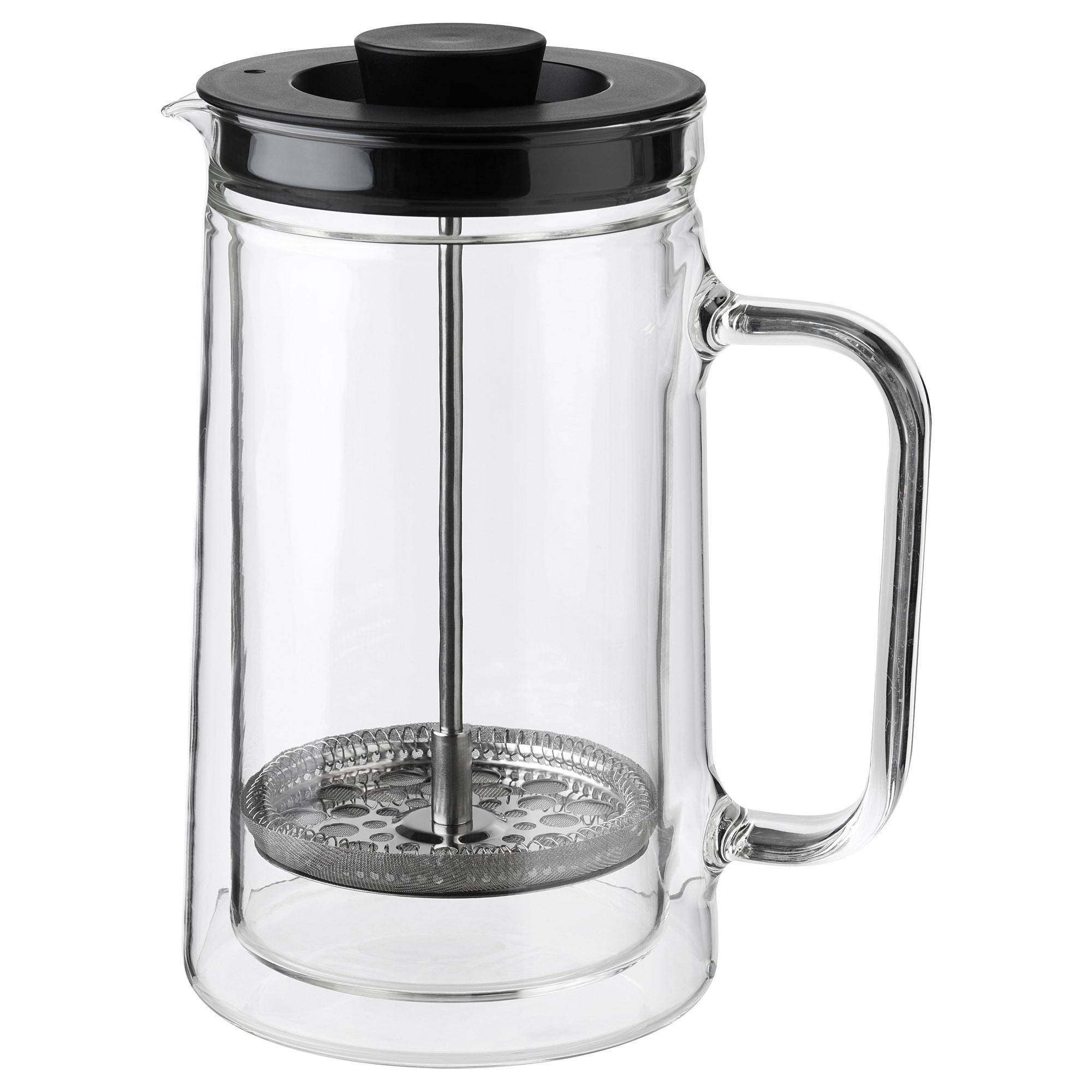 EGENTLIG Coffee/tea maker, double-walled, clear glass, 0.9 l