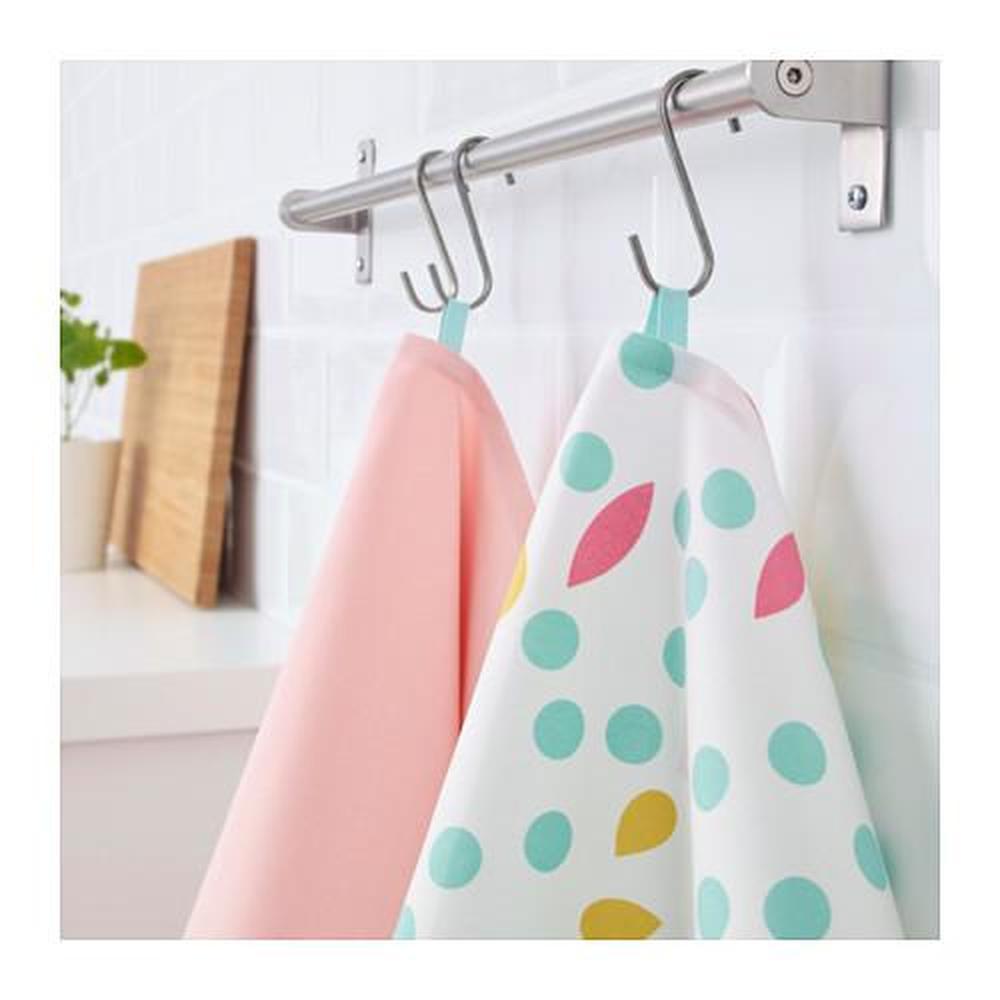 UDDIG Tea towel, light pink, dotted, 50x70 cm