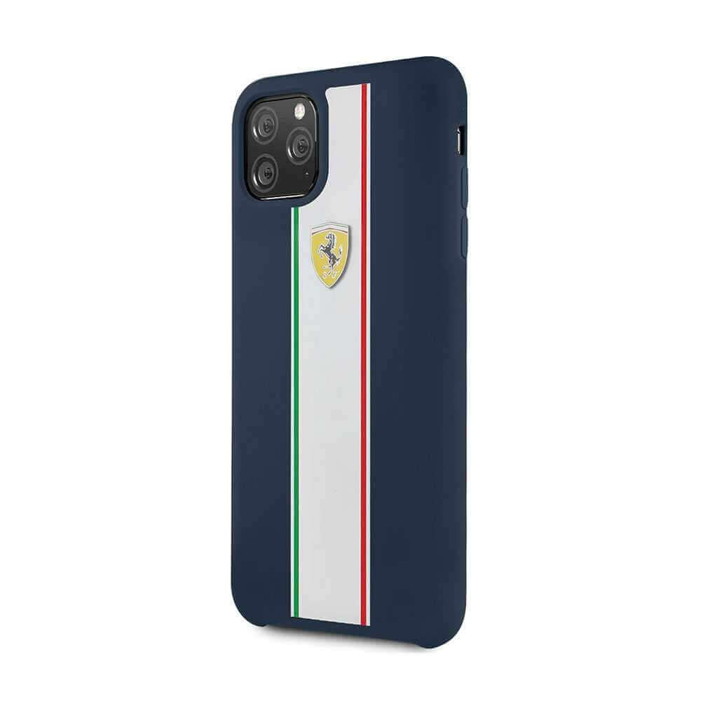 Ferrari On Track & Stripes Silicone Case For Apple iPhone 11 Pro - Navy