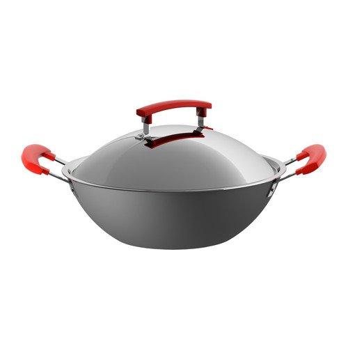 IDENTISK Wok with lid, dark grey, aluminium, 32 cm