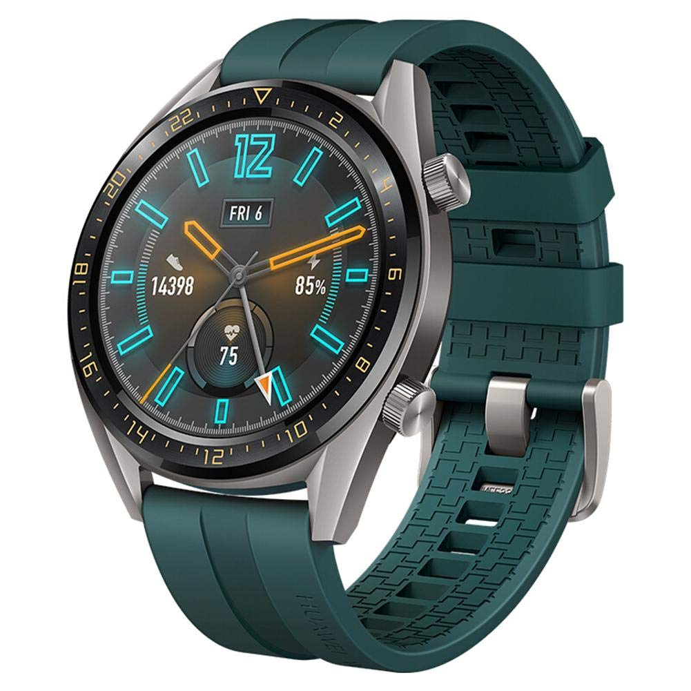 Huawei WATCH GT GPS Smartwatch Tatium Gray Stainless Steel Dark Green Fluoroelastomer Strap (FTN-B19)