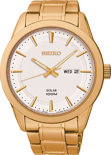 Seiko Solar SNE366P1 Men's Analogue Quartz Steel Strap White Dial Gold Plated