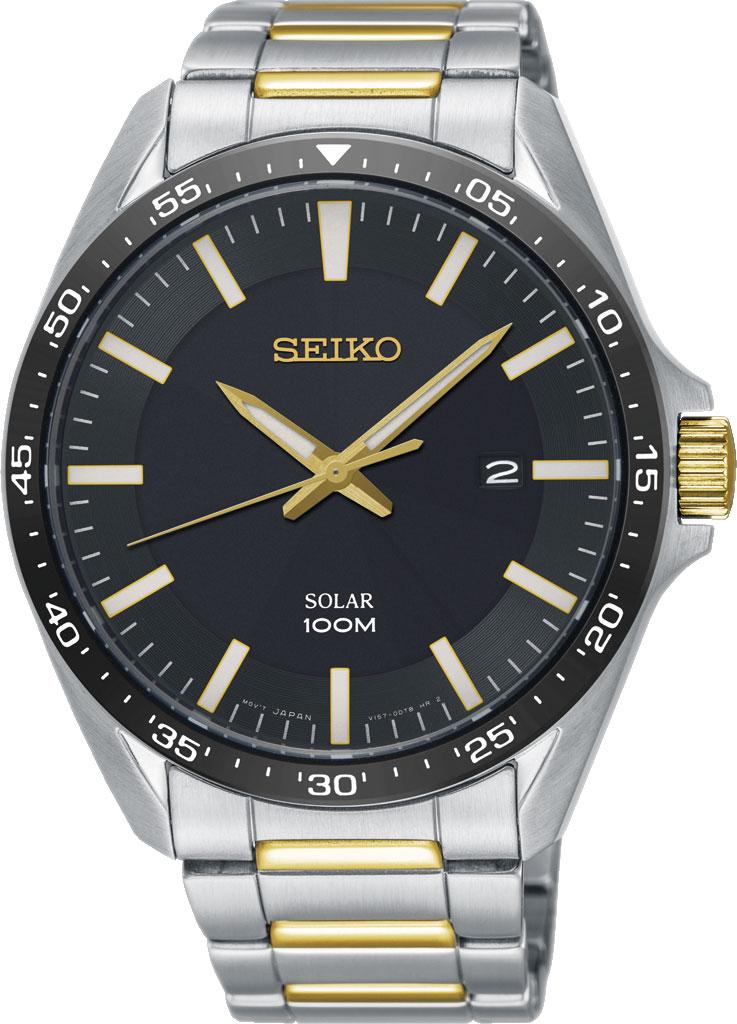 Seiko Men's 43mm Two Tone Steel Bracelet Steel Case Hardlex Crystal Solar Black Dial Analog Watch SNE485P1
