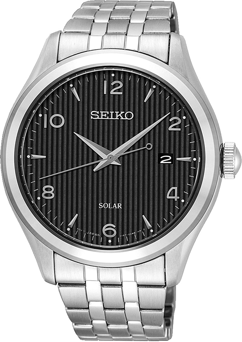 Seiko Solar Mens Analog Solar Watch with Stainless Steel Bracelet SNE489P1