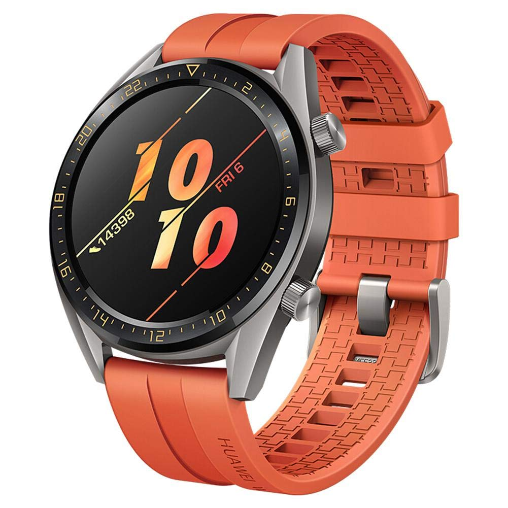 Huawei WATCH GT GPS Smartwatch Tatium Gray Stainless Steel Orange Fluoroelastomer Strap (FTN-B19)