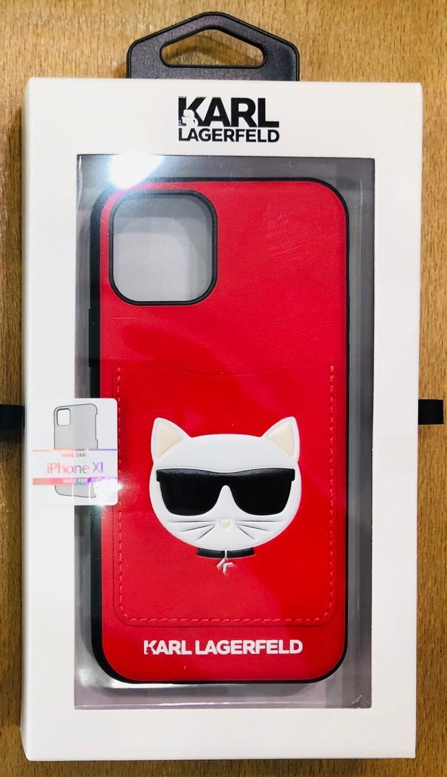 Karl Lagerfeld Choupette Hard Case with Cart Slot For Apple iPhone 11 Pro - Red