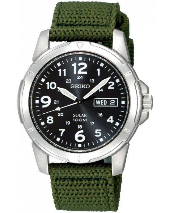 SEIKO SNE095P2 Black Dial Green Nylon Solar Quartz Men's Watch