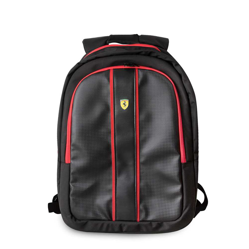 "Ferrari Scuderia New On Track Backpack 15"" with Charging Cable - Black"