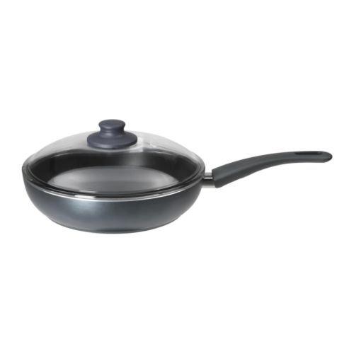 SKÄNKA Sauté pan with lid, Grey, 26 cm