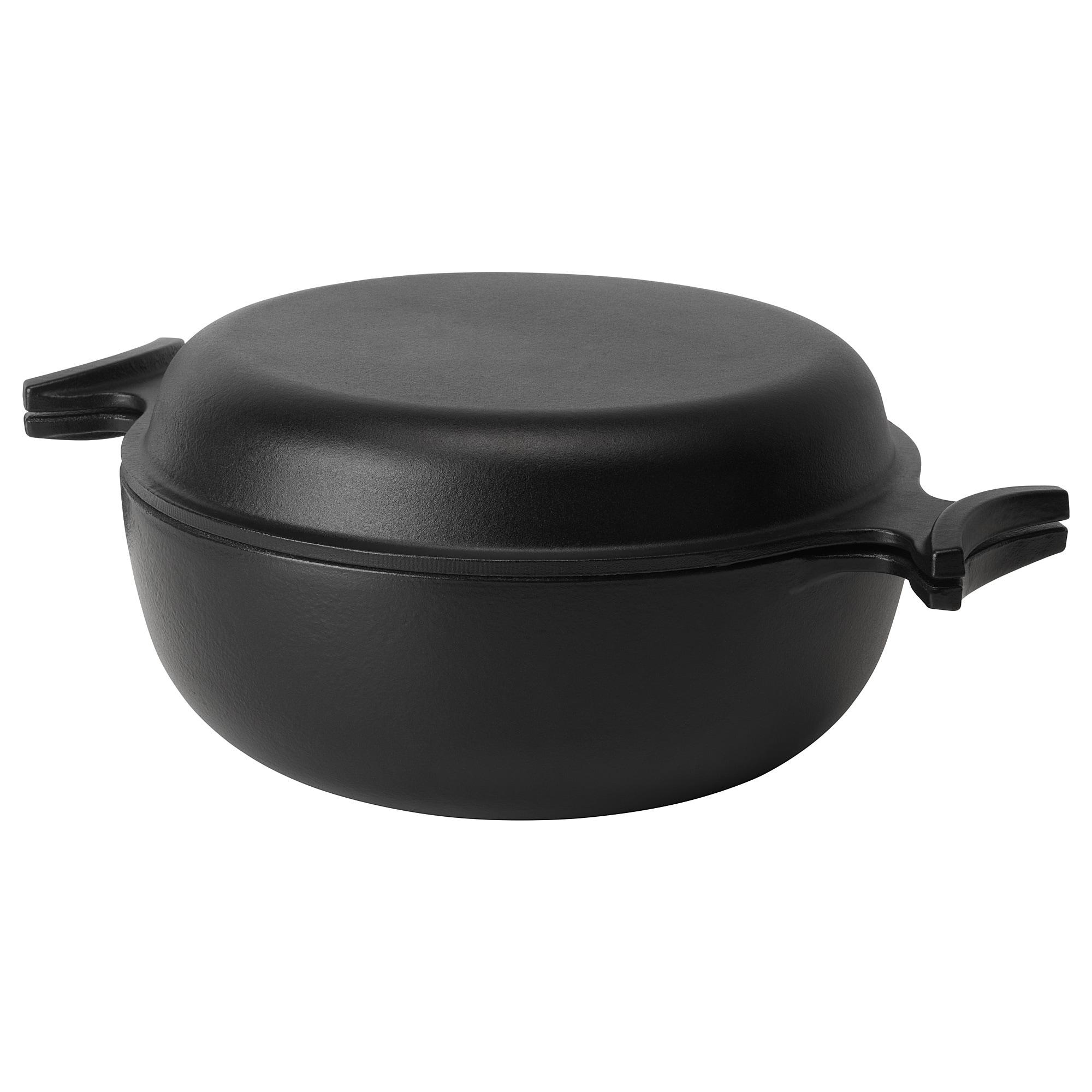 ÖVERALLT Pot with lid, black, 5 l