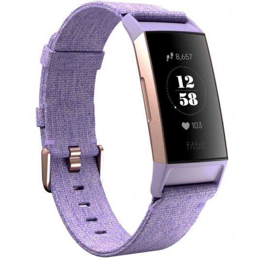 Fitbit Charge 3 Fitness Wristband with Heart Rate Tracker S.E. - Rose Gold/Lavender (FB410RGLV)