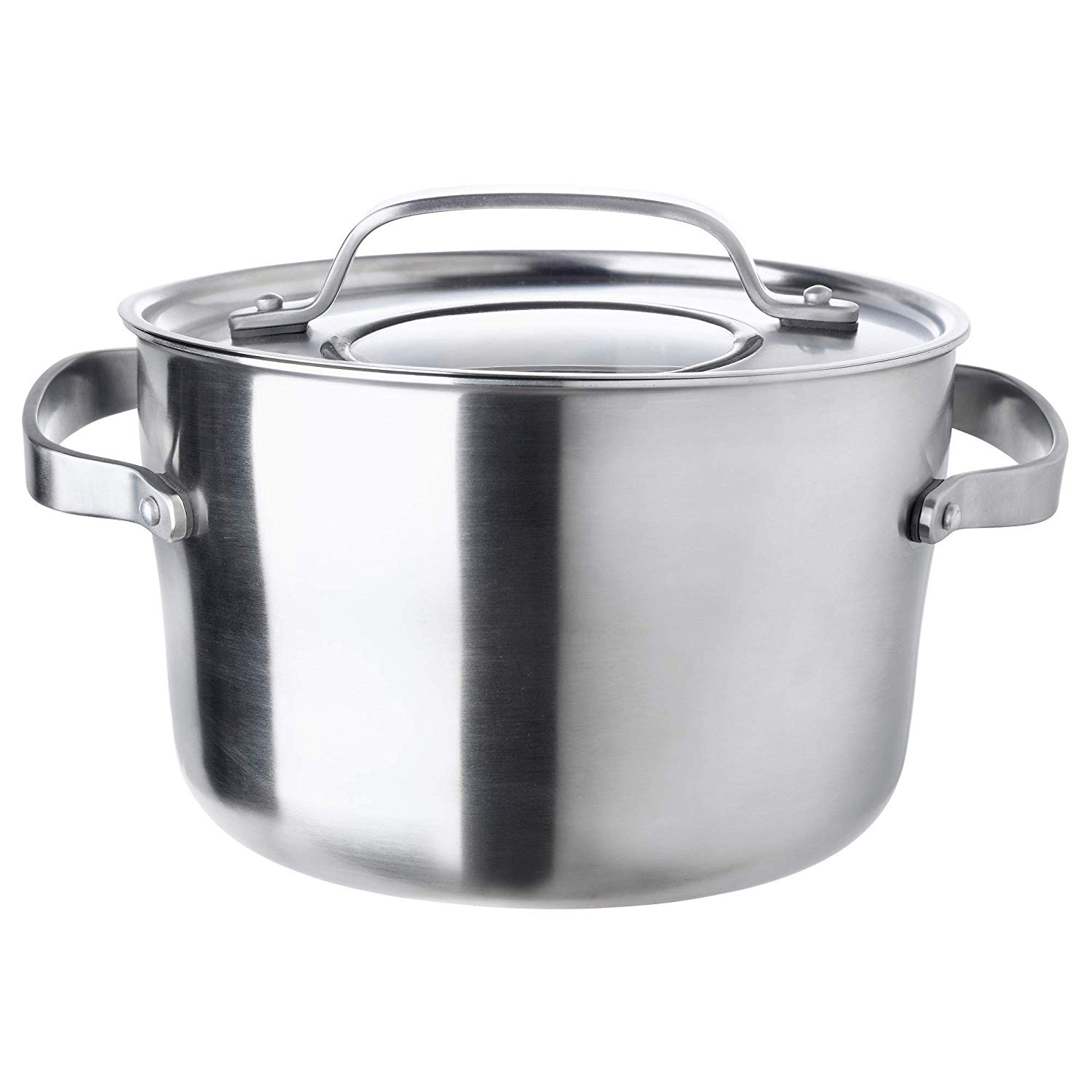 SENSUELL Pot with lid, stainless steel, grey, 5.5 l