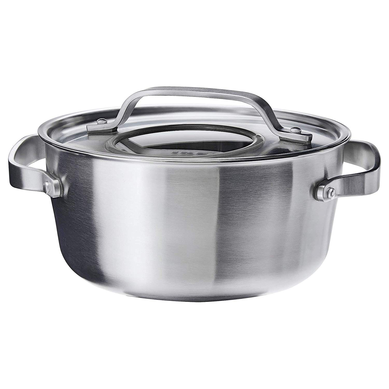 SENSUELL Pot with lid, stainless steel, grey, 4 l