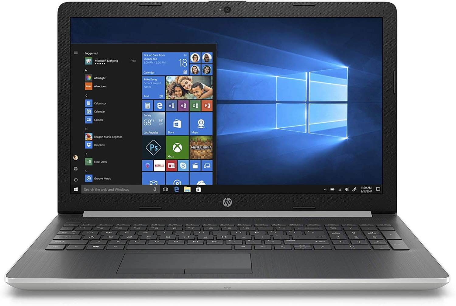 HP 15-da1002ne Notebook Laptop With 15.6-Inch Display, Core i3 Processor/4GB RAM/1TB HDD/Intel UHD Graphics 620 With English/Arabic Keyboard Silver