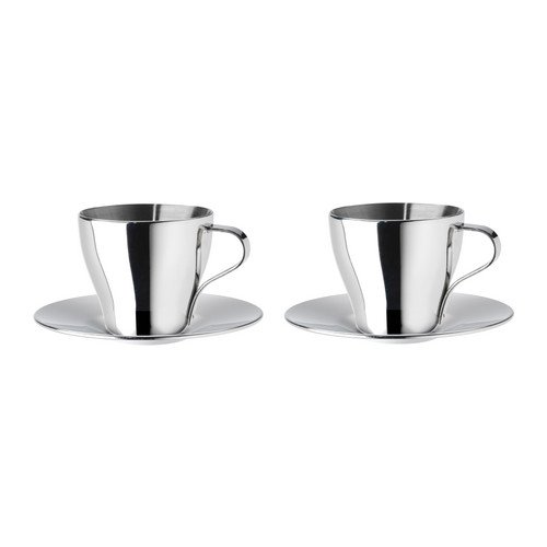 KALASET Espresso cup and saucer, stainless steel, 6 cl