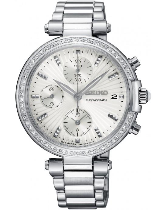 SEIKO SNDV41P1 Chronograph Crystal Silver Dial Ladies Watch