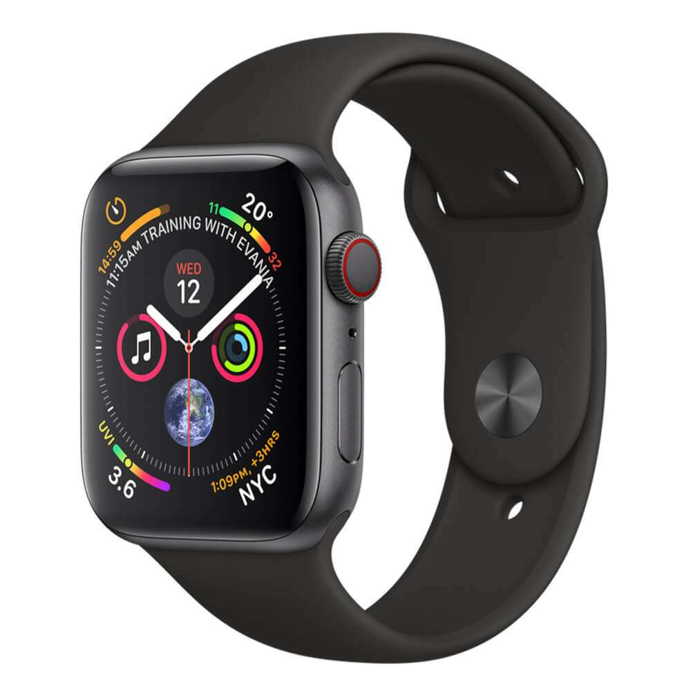 Apple Watch Series 4 (GPS + Cellular) 44mm Space Gray Aluminium Case with Black Sport Band (MTUW2)