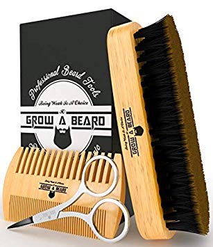 Beard Brush & Comb Set for Men's Care | Best Bamboo Grooming Kit to Spread Balm or Oil for Growth & Styling | Adds Shine & Softness