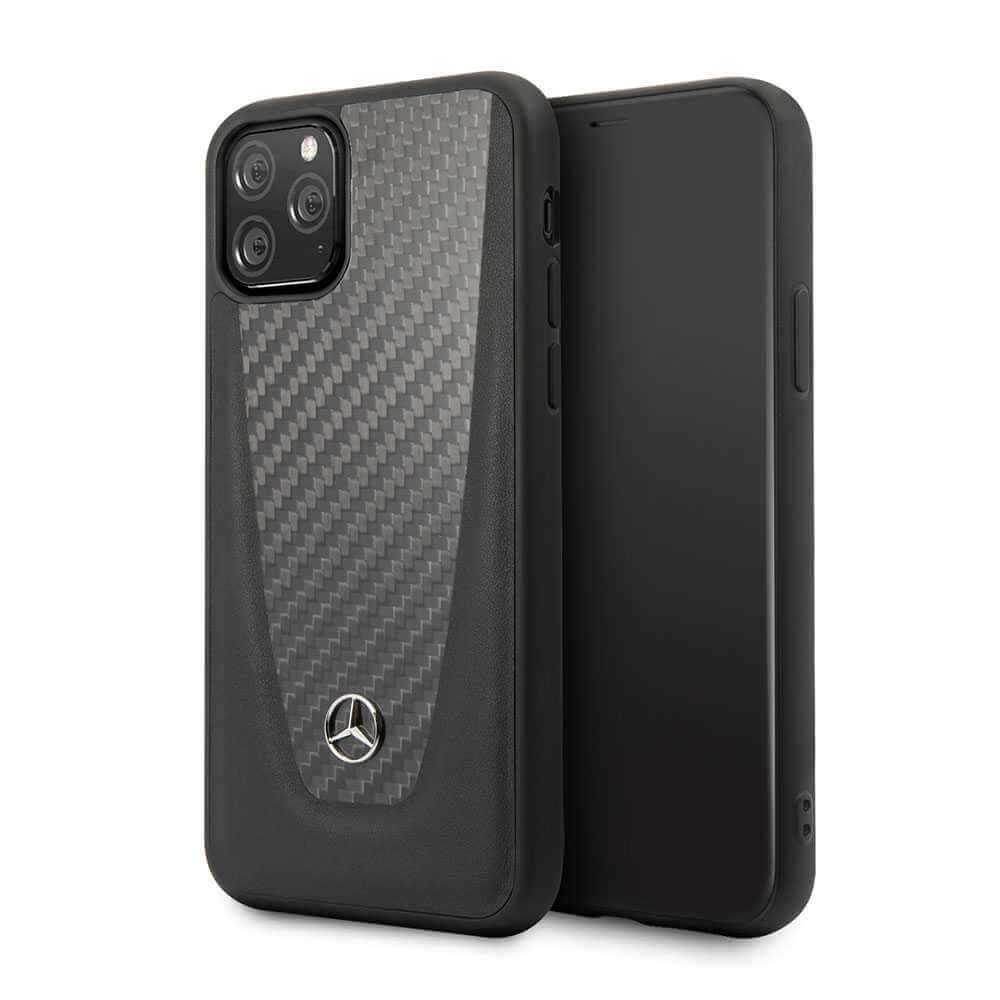 Mercedes Benz Hardcase Leather With Carbon Fiber For iPhone 11 Pro Max - Black