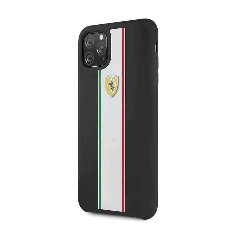 Ferrari On Track & Stripes Silicone Case For Apple iPhone 11 Pro - Black