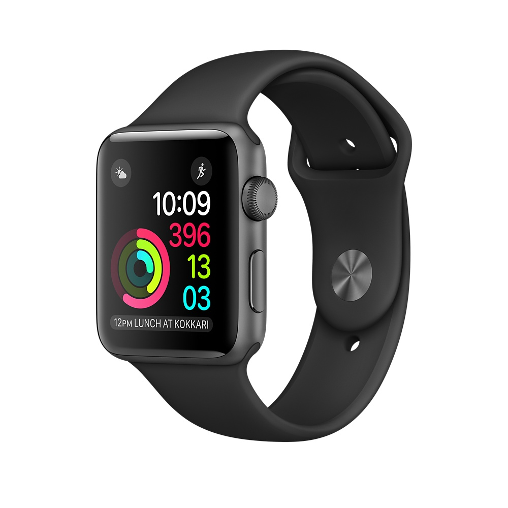 Apple Watch Series 3 GPS 42mm Space Gray Aluminum Case with Black Sport Band (MTF32)