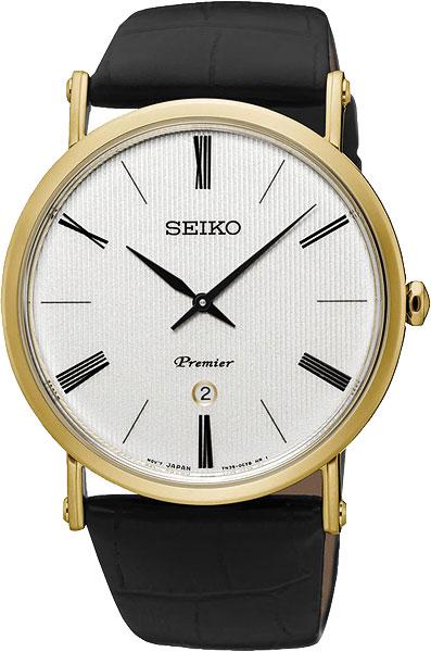 SEIKO SKP396P1 Premier White Dial Black Leather Men's Watch