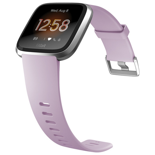Fitbit Versa Lite Edition Wristband with Heart Rate Tracker - Lilac/Silver Aluminum (S/L) (FB415SRLV)