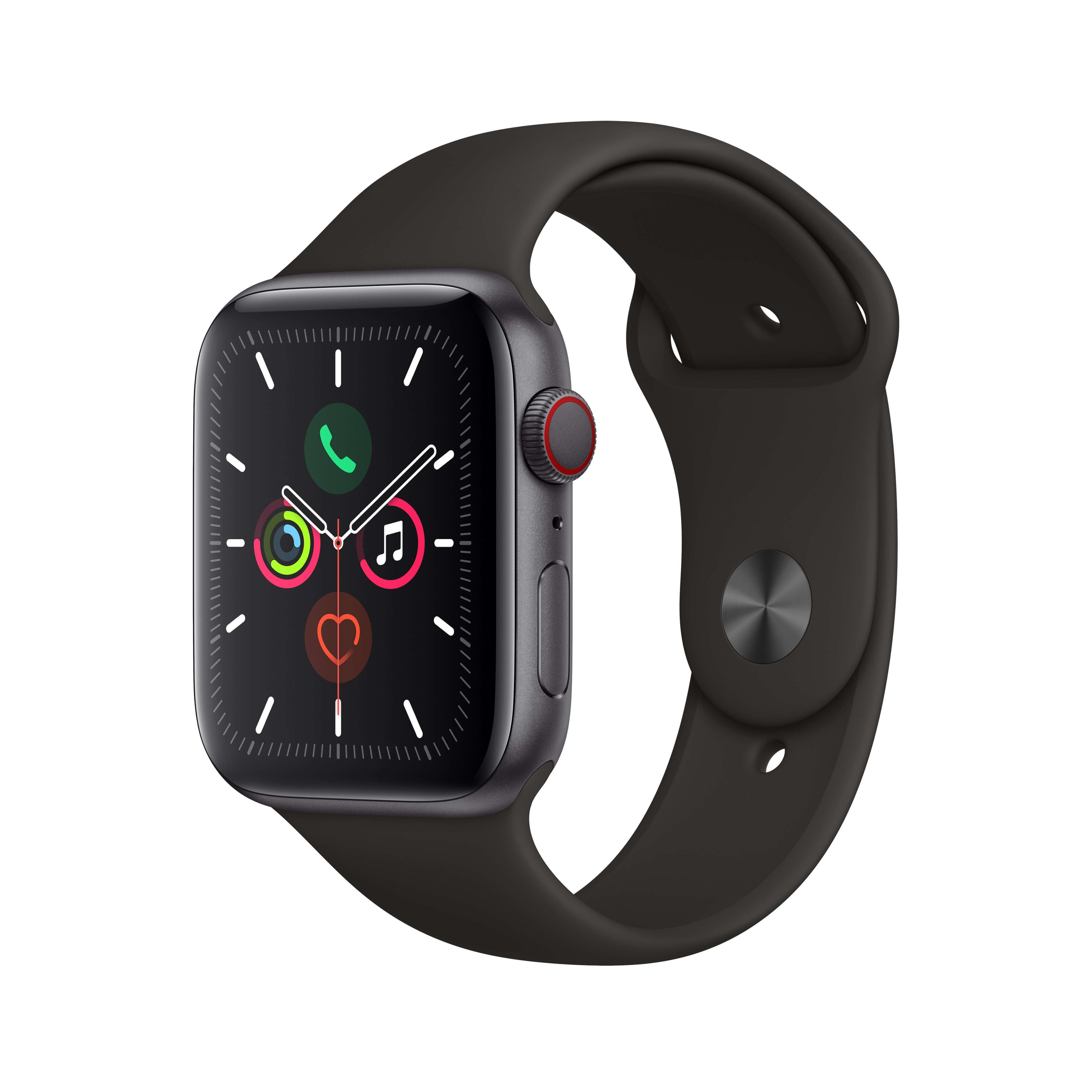 Apple Watch Series 5 GPS + Cellular 44mm Space Gray Aluminum Case with Black Sport Band (MWW12)