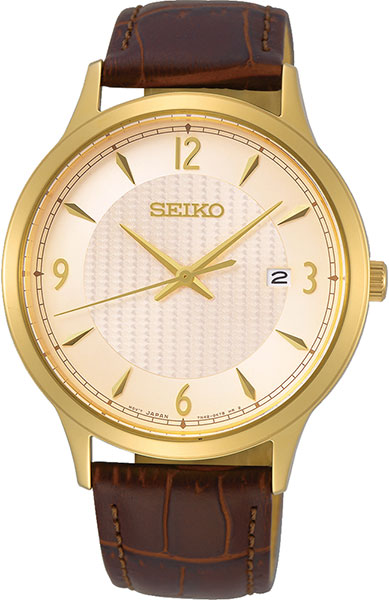 Seiko neo Classic Men's Analog Quartz Watch with Leather Bracelet SGEH86P1