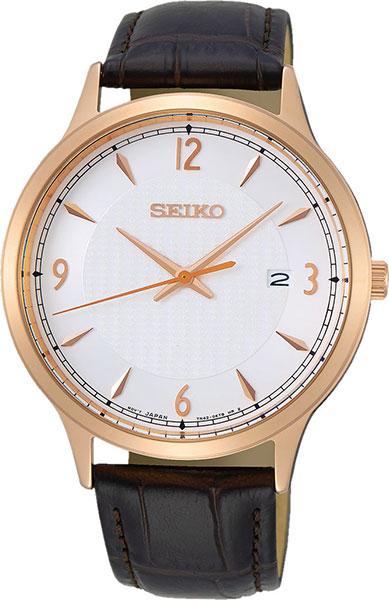 Seiko neo Classic Men's Analog Quartz Watch with Leather Bracelet SGEH88P1