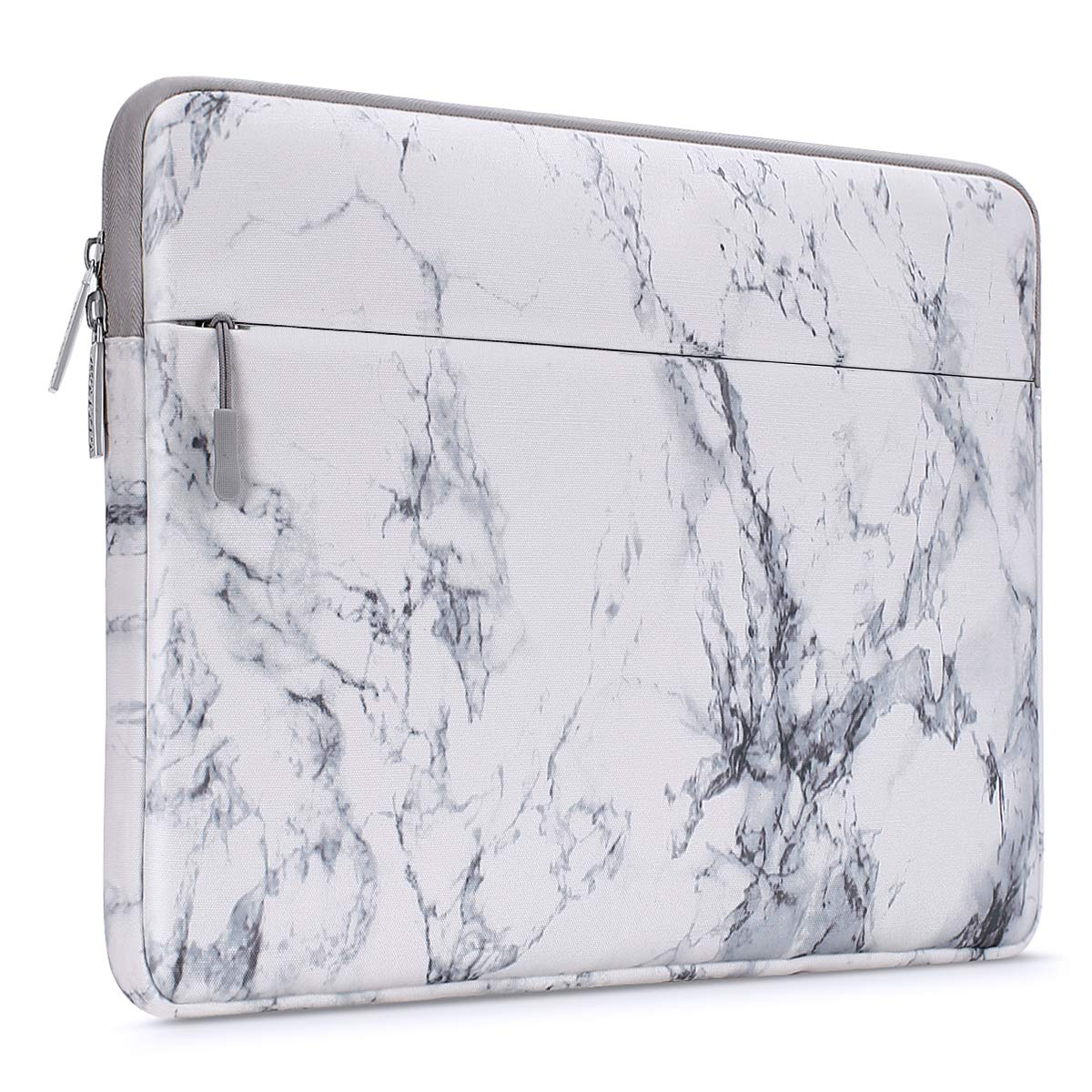 MOSISO Laptop Sleeve Bag Compatible 13-13.3 Inch MacBook Pro, MacBook Air, Notebook Computer with Accessory Pocket, Ultraportable Protective Canvas Marble Pattern Carrying Case Cover, White