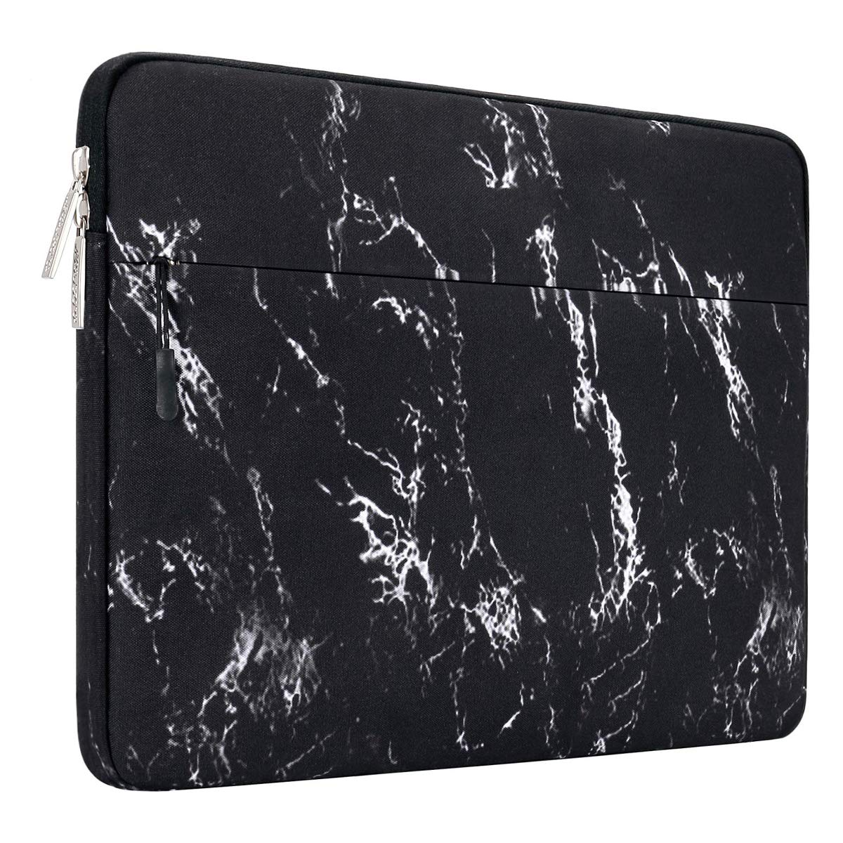 MOSISO Laptop Sleeve Bag Compatible 13-13.3 Inch MacBook Pro, MacBook Air, Notebook Computer with Accessory Pocket, Ultraportable Protective Canvas Marble Pattern Carrying Case Cover, Black