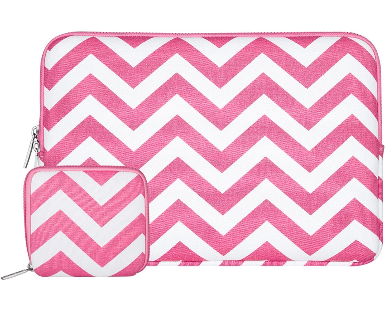 MOSISO Laptop Sleeve Bag Compatible 15-15.6 Inch MacBook Pro, Notebook Computer with Small Case, Chevron Style Canvas Fabric Protective Carrying Case Cover, Rose Red