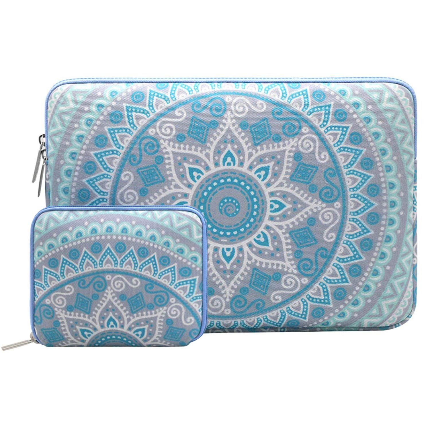 Mosiso Mosiso Laptop Sleeve Bag for 13-13.3 Inch MacBook Pro, MacBook Air, Notebook Computer with Small Case, Canvas Fabric Mandala Pattern Protective Cover, Mint Green and Blue