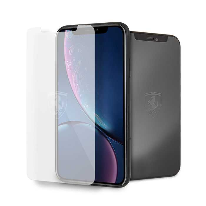 Ferrari Tempered Glass Screen Protector 0.33mm with Invisible Logo for iPhone Xr - Transparent