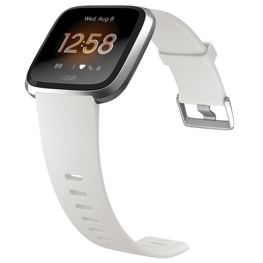 Fitbit Versa Lite Edition Wristband with Heart Rate Tracker - White/Silver Aluminum (S/L) (FB415SRWT)