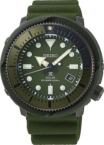 Seiko Prospex Street Series Solar Powered Silicone Strap Olive Diver's Watch SNE535P1