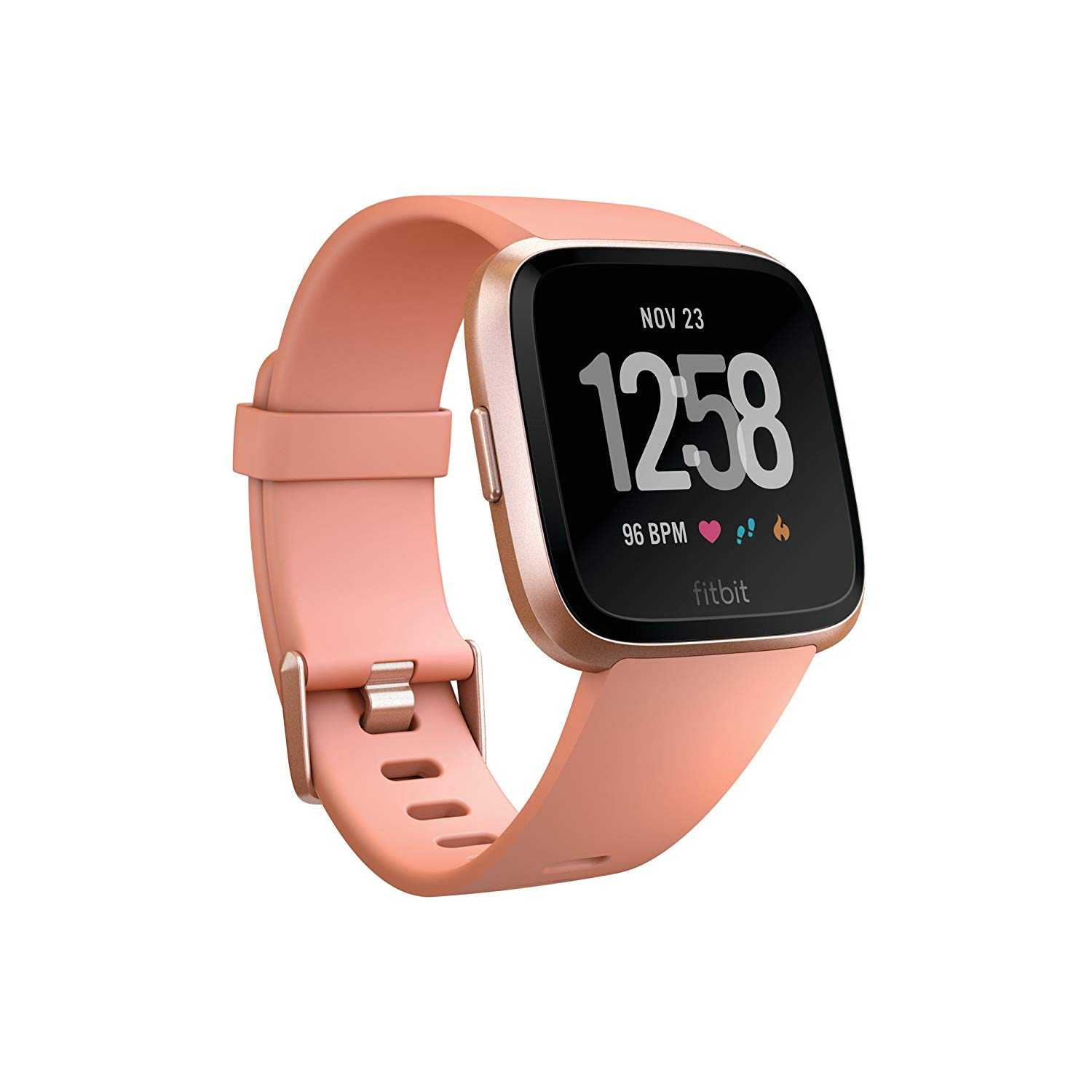 Fitbit Versa Fitness Wristband with Heart Rate Tracker - Peach/Rose Gold Aluminum